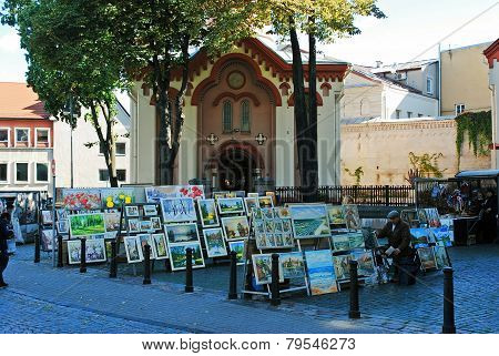 Vilnius City Paintings Sellers On September 24, 2014