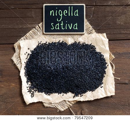 Nigella Sativa Or Black Cumin With Small Chalkboard