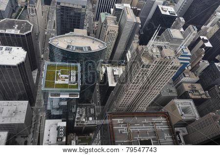 Skyscrapers of Chicago from above