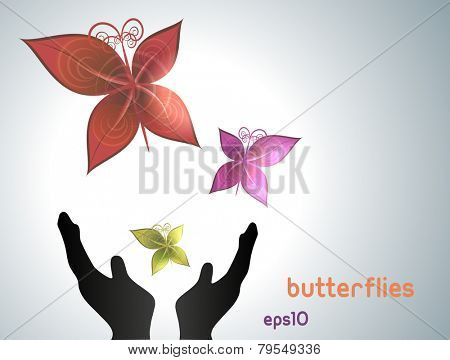 Butterflies flying out of hands. Fully vector, enjoy