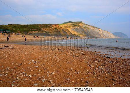 Charmouth beach Dorset England UK with pebbles and shingle and coas