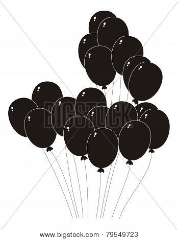 Black Silhouette Of A Balloons