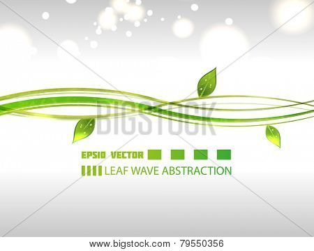 Wavy leaf abstraction on gray background with blurry particles for your design.