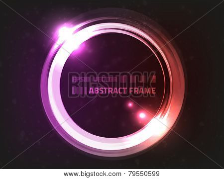 Vector design of abstract energy frame, colored red and violet, surrounded by blurry particles