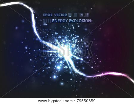 Vector background design. Two abstract energy lines collide, exploding and releasing a high amount of energy and particles.