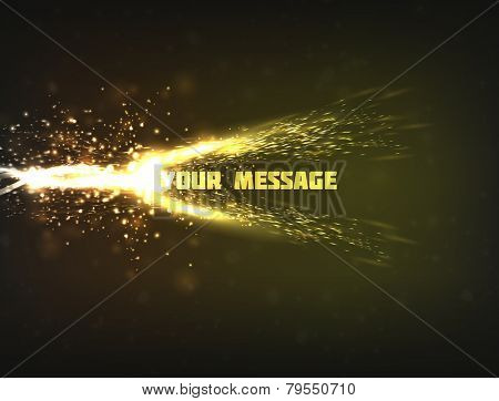 Abstract vector design of a bright energy wave colliding with text, resulting in explosion with sparkles and particles.