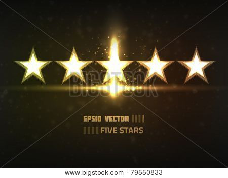 Vector five stars concept. Contains bright lights and blurry circle shaped particles on dark background