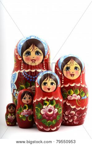 Five Traditional Russian Matryoshka Dolls