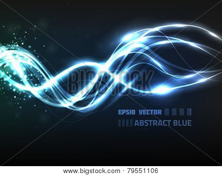 EPS10 vector abstract blue line design on background with slight texture. Composition has bright lights and blurry particles.