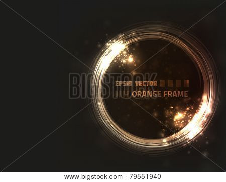 EPS10 vector abstract orange frame design against dark background with slight texture