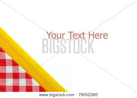 Red checkered tablecloth and noodle isolated on white background with sample text