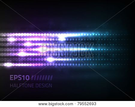 Vector abstract halftone design against dark background