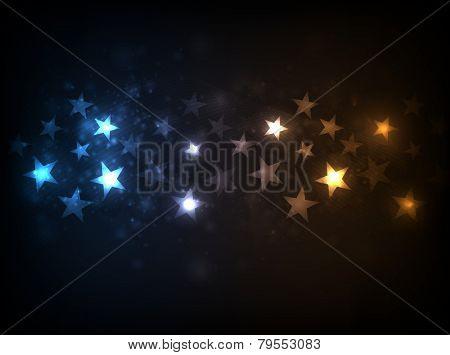 EPS10 vector horizontal star flow design against dark background