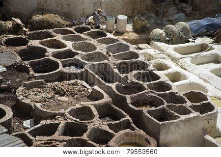 Traditional Tannery Iin Fez, Morocco