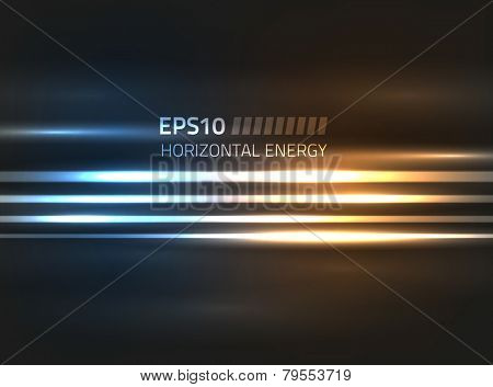 Vector horizontal energy design against dark background