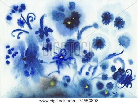 Abstract Blue Wet Watercolor Flowers