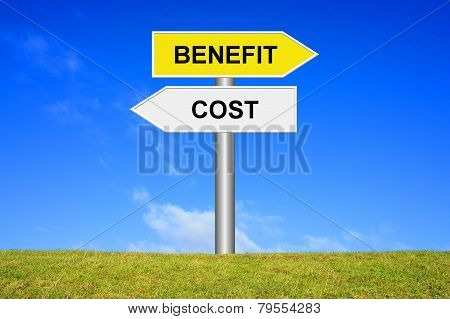 Sign showing cost or benefit
