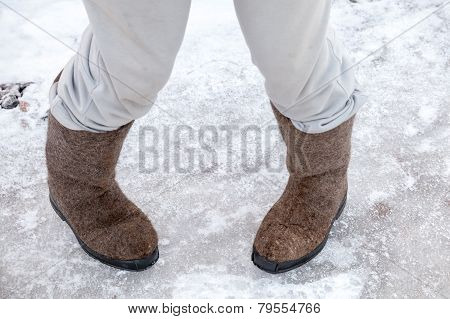 Dancing Male Feet With Traditional Russian Felt Boots