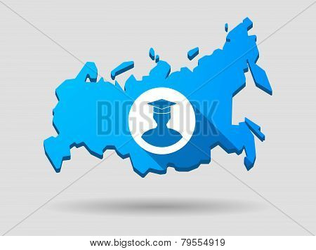 Long Shadow Russia Map Icon With A Student Avatar