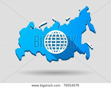 Long Shadow Russia Map Icon With A World Globe