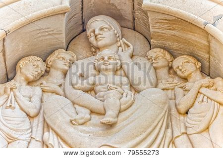 Holy Mother and Child relief statue