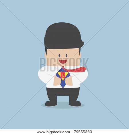 Young Businessman Tearing His Shirt And Showing The Superhero Suit