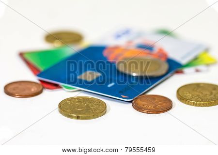 Money Growth Concept, Where Small Coins In A Pile Gets Bigger And Higher For Each Pile. Bank Credit