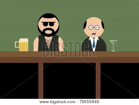 Brutal man in bar.