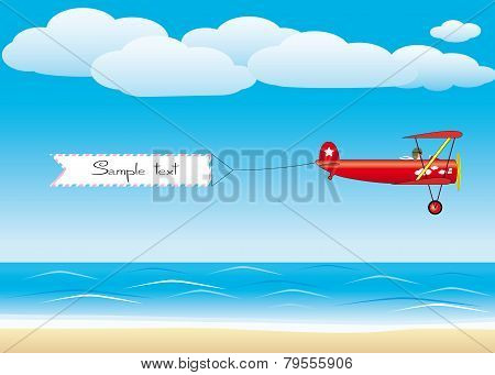 Red plane with banner