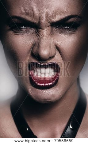 Very Angry Woman Showing Teeth