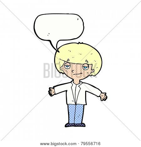 cartoon smug boy with speech bubble