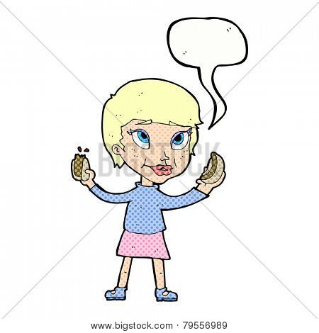 cartoon woman eating hot dogs with speech bubble