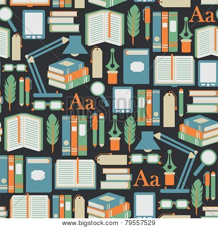 seamless pattern with books icons