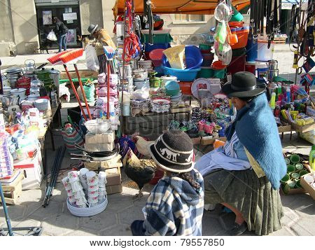 Street Market Scene With Indigenous People, Uyuni, Bolivia
