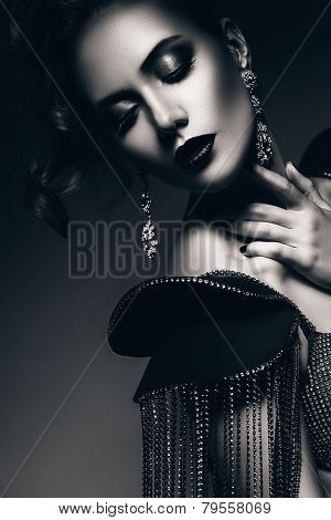 Monochrome Elegant Woman With Beautiful Earrings