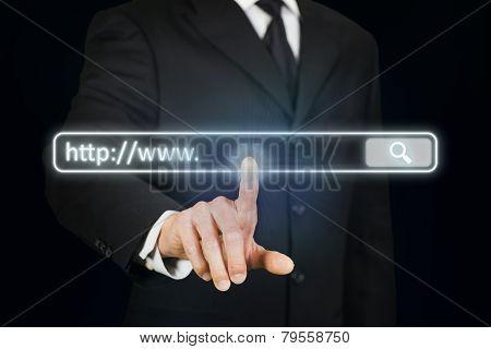 Businessman Clicking Internet Address Bar