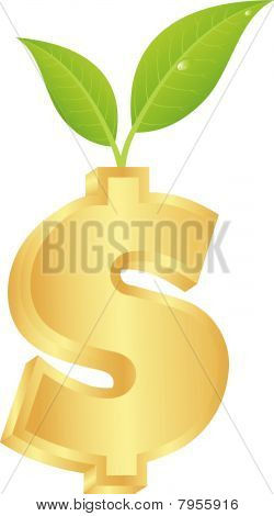 Dollar sign with a green sprout