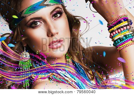 Beautiful Woman With Multi Necklace And Colourful Lines