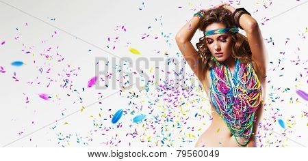 Belly Dancer In Colourful Nacklace With Petals
