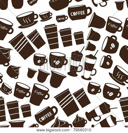Coffee Cups And Mugs Sizes Variations Icons Seamless Pattern Eps10
