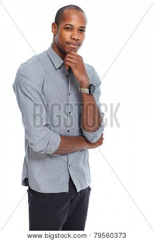 Positive thinking African-American man isolated on white background