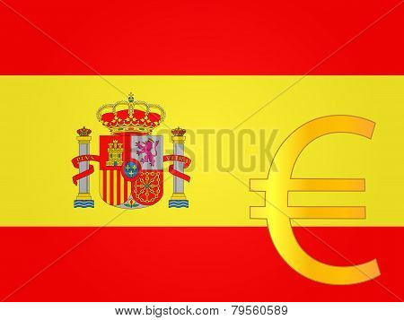 Euro Currency Sign Over The Spanish Flag