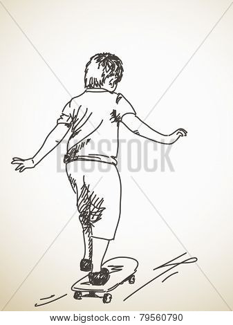 Sketch of boy on skateboard, Hand drawn Vector illustration