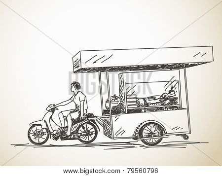 Asian street food restaurant with motorbike, Hand drawn vector sketch