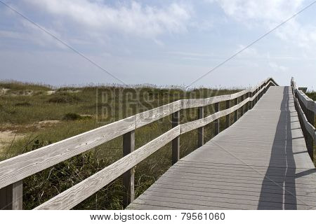 Long Boardwalk To An Ocracoke Beach