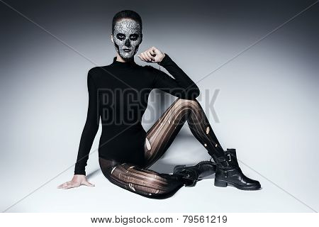 Bizarre Dark Woman In Black Clothing