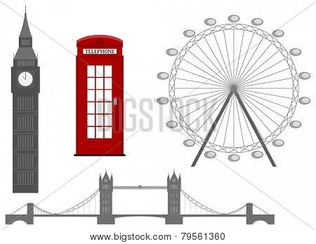 London symbol, silhouette icon, vector illustration