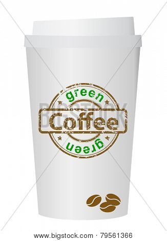 A coffee cup vector illustration with the words green coffee