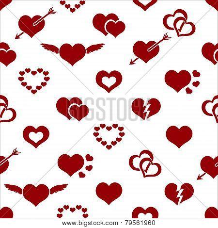 Set Of Red Valentine Hearth Love Symbols Seamless Pattern Eps10