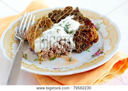 Cabbage Rolls With Rice And Veal